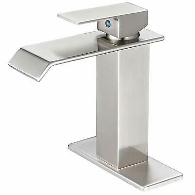 Waterfall Spout Single Handle One Hole Commercial Bathroom Sink Faucet Brushed