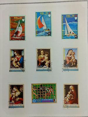 Equatorial Guinea, Paintings, Sports Album Page Of Stamps #V5867