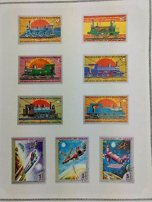 Equatorial Guinea, Locomotive, Space Album Page Of Stamps #V5868