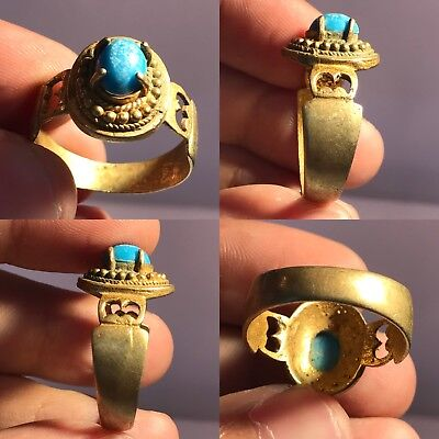 Very Old  Blue Amber Bronze Beautiful Ring #110