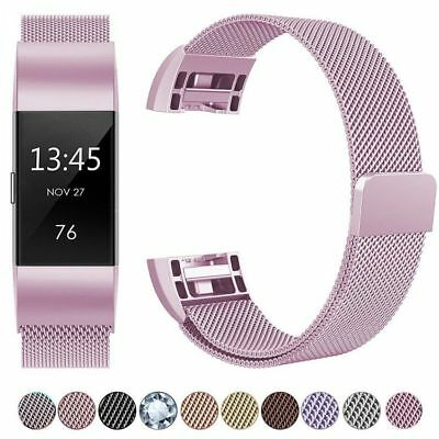 Magnetic Milanese Stainless Steel Watch Band Strap For Fitbit Charge 2 Gifts UK