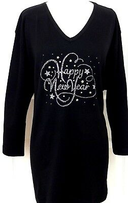 PLUS 3X Rhinestone Embellished Halloween Spiders and Webs 3//4 Sleeve V-Neck Top