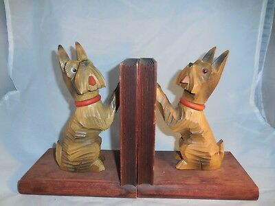 Vintage Pair of Scottie Dog Wooden Bookends Hand Carved