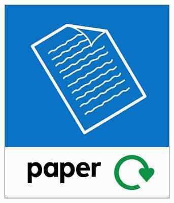 Small Paper Recycling Bin Sticker / Signage - High Tack Laminated