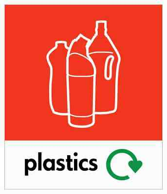 Small Plastic Bottle Recycling Bin Sticker / Signage - High Tack Laminated