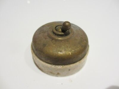 Vintage Ceramic Light Switch Toggle Dolly Brass Old Antique Art Deco