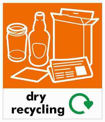 Small Dry Recycling Bin Sticker / Signage - High Tack Laminated