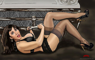Mechanic sexy pinup tools car fantasy comics art 11x17 signed print Dan DeMille