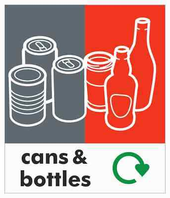 Small Can + Bottle Recycling Bin Sticker / Signage - High Tack Laminated