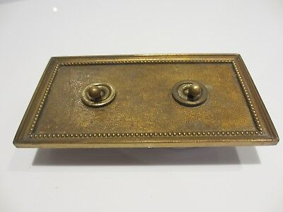 Antique Double Light Switch Brass Plate Vintage Ceramic Old Art Deco Beading