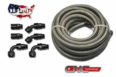 AN6 12FT Braided Stainless Steel Teflon PTFE/Return Hose Oil/Gas/Fuel Fitting