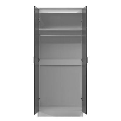 2 Door Soft Close Plain Wardrobe REFLECT in Gloss Grey / Matt White - Bedroom