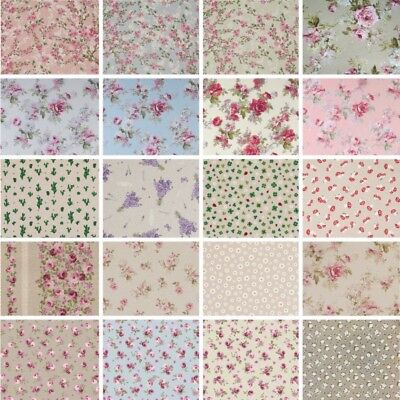 Cotton Rich Linen Look Fabric Floral Flower Rose Daisy 140cm Curtain Upholstery