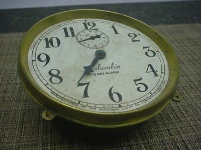 """Vintage 8-Day Alarm """"Columbia"""" by Sessions Clock Co Brass Movement E613b"""