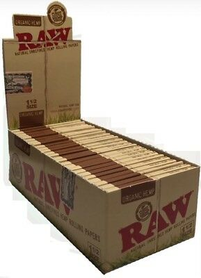 RAW Organic 1.5 Rolling Paper - Full Box 25 PACKS - 1 1/2 Hemp Natural Papers
