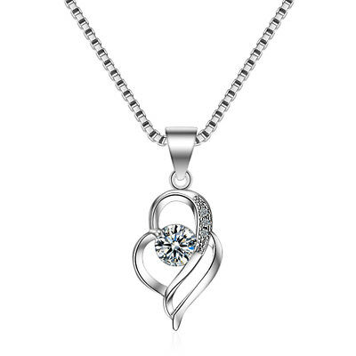 Women's Elegant Solid 925 Sterling Silver Zircon Heart Pendant Necklace FREE P&P