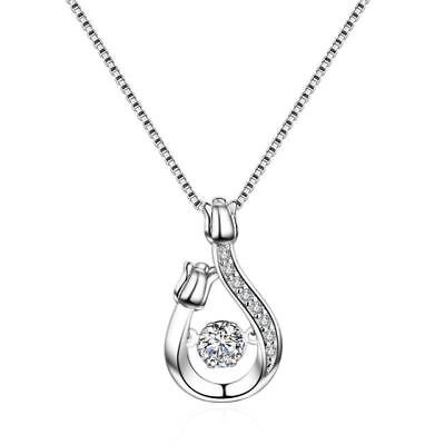Women Jewelry Solid 925 Sterling Silver Swinging Zircon Flower Pendant Necklace