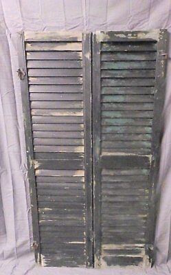 Pair Vtg House Window Wood Louvered Shutters Shabby Old Chic 58x16 638-17P