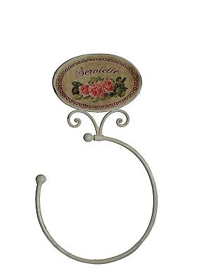 French Shabby Vintage Chic Le Rose Pink White Metal Towel Ring Holder. Ant
