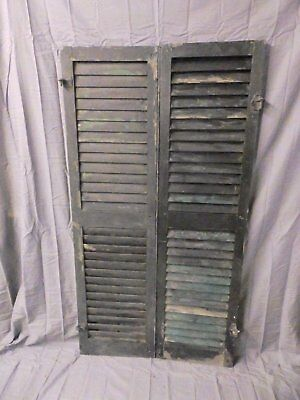 Pair Vtg House Window Wood Louvered Shutters Shabby Old Chic 58x16 639-17P