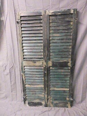 Pair Vtg House Window Wood Louvered Shutter Shabby Saloon Old Chic 58x16 641-17P
