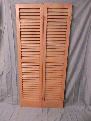 Pair Vtg House Window Wood Louvered Shutter Shabby Saloon Old Chic 67x16 642-17P