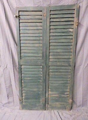 Pair Vintage House Window Wood Louvered Shutters Shabby Old Chic 58x16 650-17P