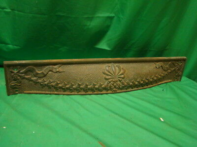 Antique 1800's Cast Iron Fireplace Top Piece Surround Insert Ornate Design