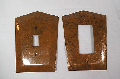 Lot- 2 Copper Vintage Mid-Century Light Switch & Outlet Plate Covers -Cover