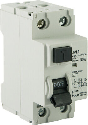 2 Pole 40A RCD Safety Switch Electrical Switchboard Electrician Supplies NEW
