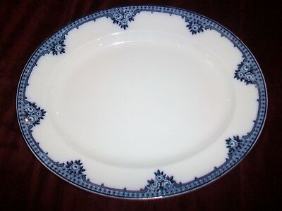 """Burleigh Ware Rosette Large Oval Platter Blue and White Burgess & Leigh 13 3/4"""""""