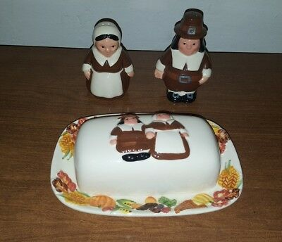 Ceramic SALT AND PEPPER SHAKERS WITH BUTTER DISH Amish people couple 2006