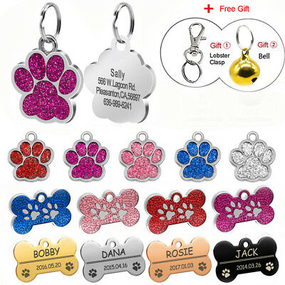Glitter Paw Print Dog Tag Personalized Engraved Cat Pet ID Name Tag Bone Shape