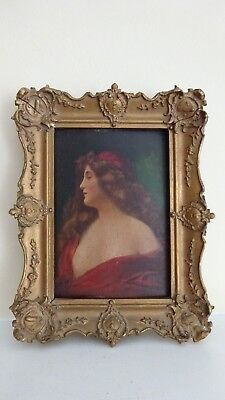 Antique Portrait Painting of a Beautiful Lady in Ornate Gilt Wood Frame