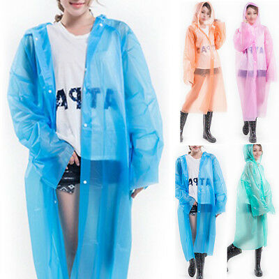 New Women Ladies Hooded Transparent Raincoat Waterproof Poncho Long Sleeve Coat