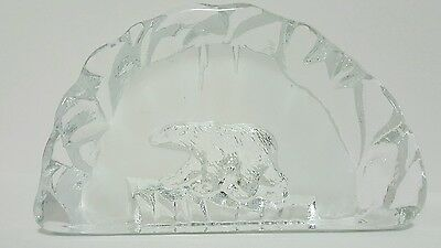 Vintage Art Glass Paperweight of Polar Bear on Floating Ice mid-90s