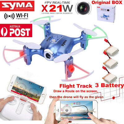 SYMA X21W WiFi FPV Mini RC Quadcopter Drone HD Camera Flight Track +3 Battery AU