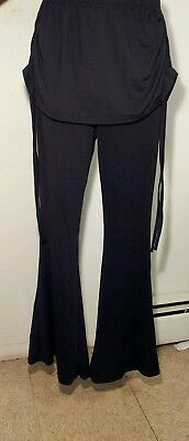 Tribal Belly Dance Costume Black Gaucho Flared Trousers Pants W/ Skirt Sz Sm New