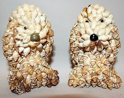 Collectible Pair Of Vintage Sea Shell Cute Folk Art Puppy Dog Animal Figurines