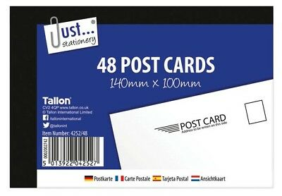 Tallon 48 Plain White Blank Post Cards 140 x 100mm Mailing /Holiday/ Competition