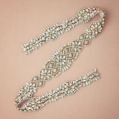 Dazzling Bridal Sash Crystal Rhinestone Pearl Beaded Wedding Dress Belt