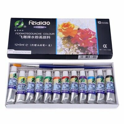 12 Color Gouache Paint Tubes Set 5ml Draw Painting Pigment Painting + 1x Brush