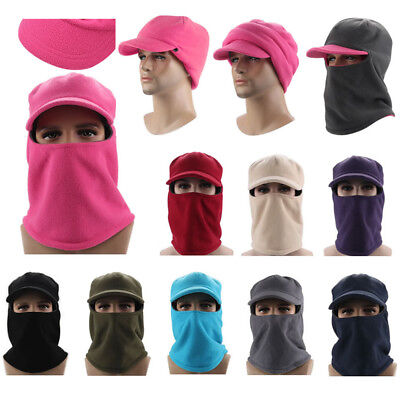 Black Hat Warm Full Cap Face Beanie Ski Unisex Balaclava Mask Fleece Visor b2b7bf7c96bb