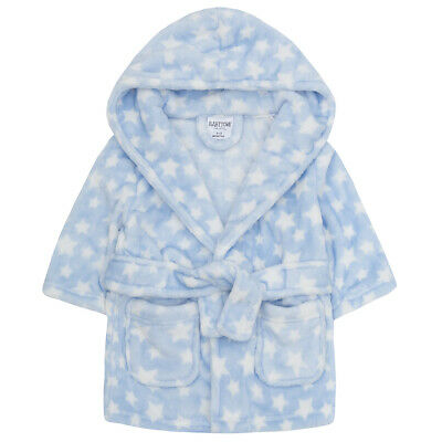 Baby Boys Star Print Dressing Robe Hooded Fleece Gown Nightwear Toddler Kimono
