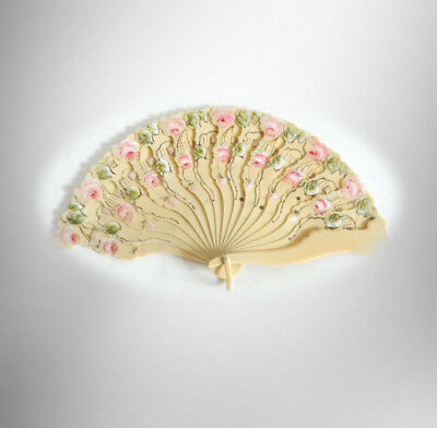 Oriental segmented folding fan with hand painted roses  - FREE SHIPPING
