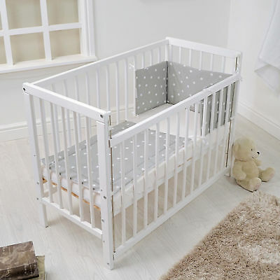 New 4Baby White Deluxe Baby Space Saver Cot & Deluxe Foam Mattress + Bedding Set