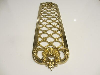 Brass Pierced Finger Plate Push Door Handle Gilt Leaf Flower Shell Clam Floral