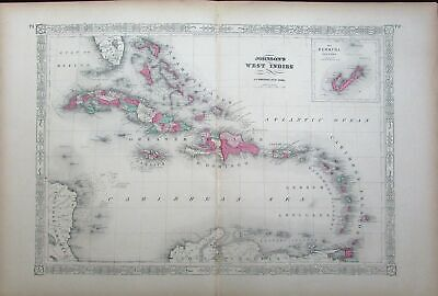 West Indies Bermuda Jamaica Caribbean St. Domingo Puerto Rico c.1865 antique map