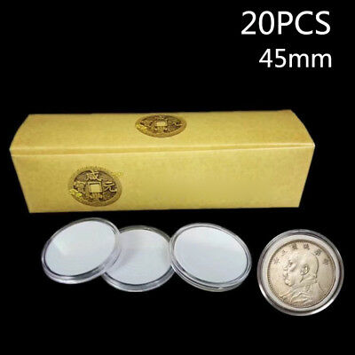 20pcs 45mm Applied Clear Round Cases Coin Storage Capsules Holder w/ Pad Plastic