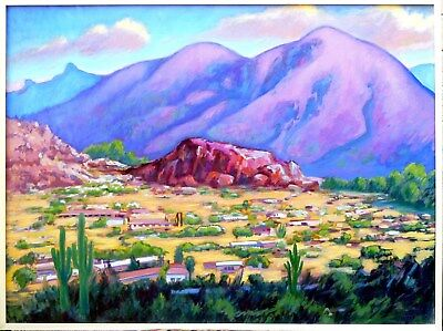 Beautiful original desert mountain landscape oil painting by artist Mark Hugunin
